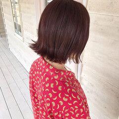 ピンクブラウン ナチュラル レッド カシスレッド ヘアスタイルや髪型の写真・画像