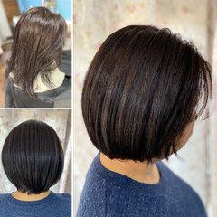 ミニボブ 髪質改善 ショートヘア ヘナカラー ヘアスタイルや髪型の写真・画像