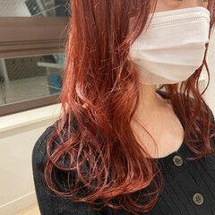 レッド セミロング チェリーレッド カシスレッド ヘアスタイルや髪型の写真・画像