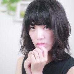 モテ髪 ミディアム コテ巻き ゆる巻き ヘアスタイルや髪型の写真・画像