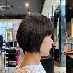 ボブ 艶髪 絶壁カバー ノースタイリング ヘアスタイルや髪型の写真・画像