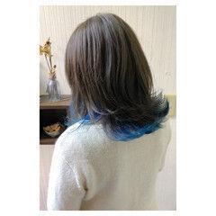 アッシュ セミロング 大人かわいい ガーリー ヘアスタイルや髪型の写真・画像