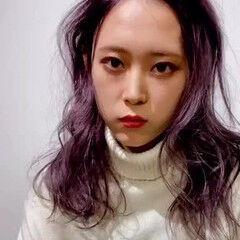 ヘアアレンジ フェミニン ベリーピンク ピンク ヘアスタイルや髪型の写真・画像