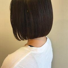 ブルーブラック ミニボブ ボブ 切りっぱなしボブ ヘアスタイルや髪型の写真・画像