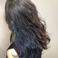 ブルー インナーカラー グラデーションカラー ストリート ヘアスタイルや髪型の写真・画像