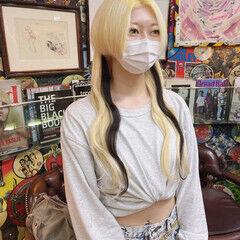 エクステ ハイトーンカラー ナチュラル 金髪 ヘアスタイルや髪型の写真・画像