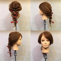 くるりんぱ 三つ編み ヘアアレンジ セミロング ヘアスタイルや髪型の写真・画像