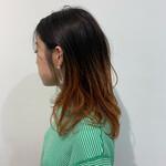 ミディアム 銀座美容室 グラデーションカラー オレンジ