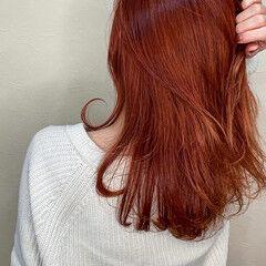 ストリート ロング 艶カラー オレンジベージュ ヘアスタイルや髪型の写真・画像
