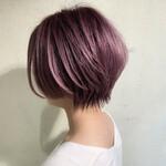ピンクパープル ショートヘア ショートボブ 小顔ショート