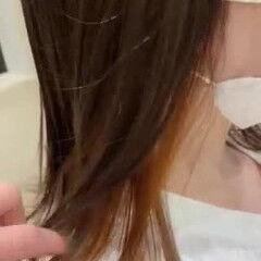 オレンジベージュ アプリコットオレンジ ナチュラル ミディアム ヘアスタイルや髪型の写真・画像
