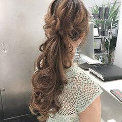ロング 簡単ヘアアレンジ ポニーテール ナチュラル ヘアスタイルや髪型の写真・画像