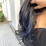 インナーブルー ブルー インナーカラー ミディアム
