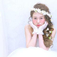 ヘアアレンジ 花 結婚式 ブライダル ヘアスタイルや髪型の写真・画像