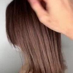 ミディアム ピンク エレガント ピンクアッシュ ヘアスタイルや髪型の写真・画像