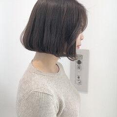 タッセルボブ 切りっぱなしボブ ボブ モカベージュ ヘアスタイルや髪型の写真・画像