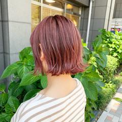 ピンクアッシュ ストリート ピンクベージュ ボブ ヘアスタイルや髪型の写真・画像