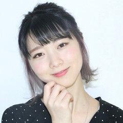 インナーカラーパープル ガーリー インナーカラー 簡単ヘアアレンジ ヘアスタイルや髪型の写真・画像