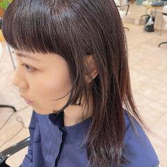 モード ミディアム 姫カット 前髪 ヘアスタイルや髪型の写真・画像