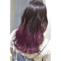 ピンクパープル ロング ガーリー ピンク ヘアスタイルや髪型の写真・画像