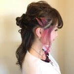 インナーカラー モテ髪 ピンク フェミニン