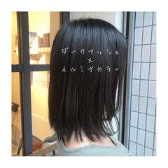 セミロング ツヤツヤ ツヤ髪 ブリーチなし ヘアスタイルや髪型の写真・画像