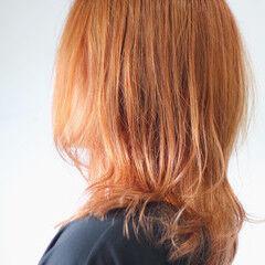 オレンジカラー ナチュラル オレンジ オレンジベージュ ヘアスタイルや髪型の写真・画像