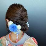 成人式ヘア 和装 セミロング 編み込み
