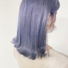 ミディアム 透明感カラー ナチュラル ラベンダー ヘアスタイルや髪型の写真・画像