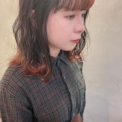 裾カラーオレンジ 裾カラー デザインカラー オレンジ ヘアスタイルや髪型の写真・画像