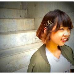 グラデーションカラー ワンカール ヘアアレンジ ヘアピン ヘアスタイルや髪型の写真・画像