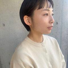 ショートヘア ショートバング ワイドバング ナチュラル ヘアスタイルや髪型の写真・画像