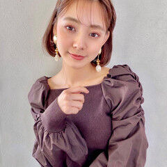 ボブアレンジ ナチュラル カチューシャ ボブ ヘアスタイルや髪型の写真・画像