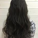 ハイライト 暗髪 セミロング グラデーションカラー