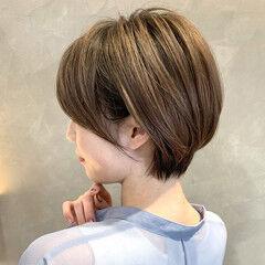 ナチュラル ショコラブラウン ショート ショートボブ ヘアスタイルや髪型の写真・画像