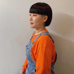モード ボブ 切りっぱなしボブ ツーブロック ヘアスタイルや髪型の写真・画像