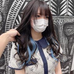 インナーカラー ブルー エクステ ロング ヘアスタイルや髪型の写真・画像