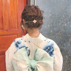 フェミニン ミディアム 浴衣ヘア 浴衣アレンジ ヘアスタイルや髪型の写真・画像