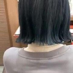 ストリート ブルーブラック ミニボブ ボブ ヘアスタイルや髪型の写真・画像