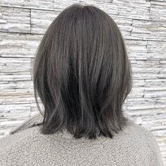 グレージュ ボブ カーキ 大人ミディアム ヘアスタイルや髪型の写真・画像