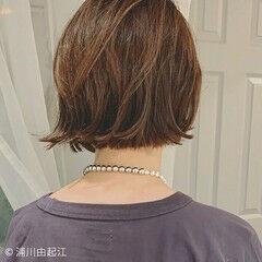 大人かわいい 極細ハイライト ボブ デート ヘアスタイルや髪型の写真・画像