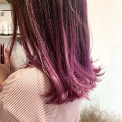 ミディアム ナチュラル ピンクラベンダー ピンクパープル ヘアスタイルや髪型の写真・画像
