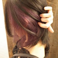 ミディアム インナーカラー ガーリー ピンクラベンダー ヘアスタイルや髪型の写真・画像