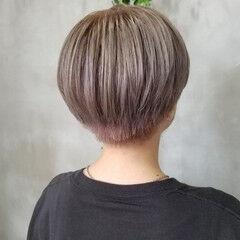韓国ヘア ミルクティーグレージュ グレージュ ショート ヘアスタイルや髪型の写真・画像