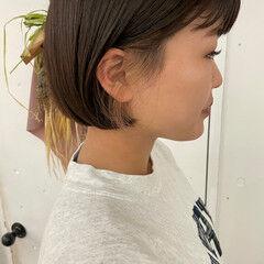 ミニボブ ショートヘア ナチュラル 透け感ヘア ヘアスタイルや髪型の写真・画像