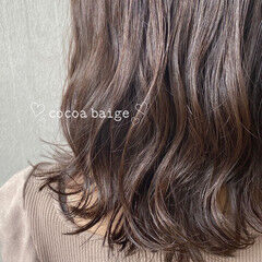 ブラウンベージュ ヌーディベージュ ミディアム ショコラブラウン ヘアスタイルや髪型の写真・画像