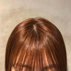 カッパー フェミニン オレンジブラウン ボブ ヘアスタイルや髪型の写真・画像