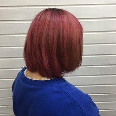 ボブ マニキュア ラベンダーピンク カラーバター ヘアスタイルや髪型の写真・画像