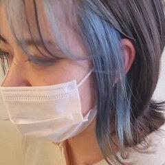 インナーブルー オレンジ ボブ シースルーバング ヘアスタイルや髪型の写真・画像