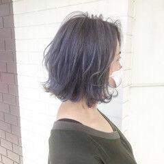 パープル ブリーチ ブリーチオンカラー ボブ ヘアスタイルや髪型の写真・画像